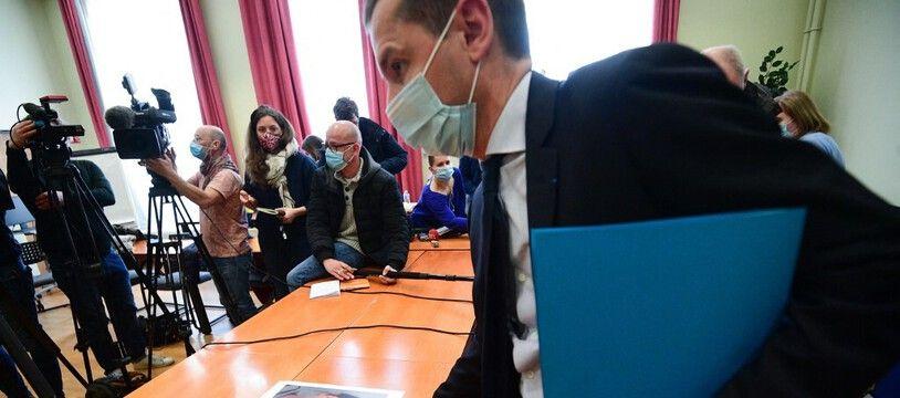 Le procureur Nicolas Heitz lors d'une conférence de presse relative à l'enlèvement de Mia, le 14 avril 2021.
