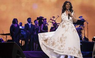Aretha Franklin, en avril 2017, au  Radio City Music Hall de New York.