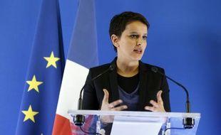 La ministre de l'Education nationale Najat Vallaud-Belkacem, lors d'une conférence de presse à Paris, le 19 février 2016