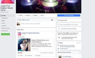 Capture d'écran d'une page Facebook créée en hommage à l'adolescente américaine décédée.