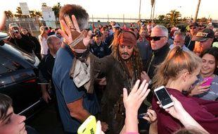 Johnny Depp, en tournage en Australie, le 2 juin 2015, à Cleveland.
