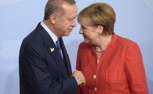Erdogan et Merkel lors de leur rencontre au G20 d'Hambourg en 2017.