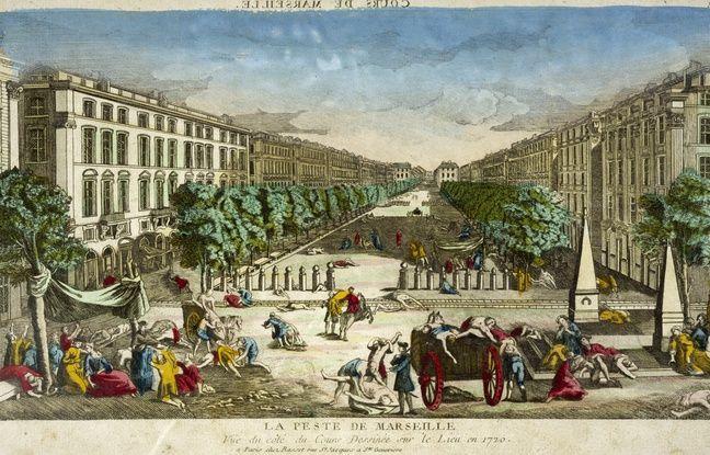 La peste sur le cours Belsunce à Marseille, dessinée en 1720