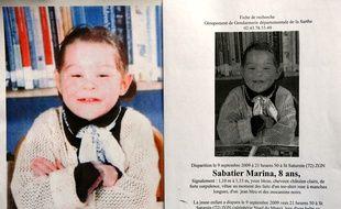 Photo extraite de l'avis de recherche lancé par la gendarmerie pour retrouver Marina Sabatier, 8 ans, disparue en août 2009.