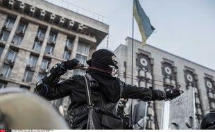 L'opposition ukrainienne lors des affrontements avec la police, le 19 février 2014.