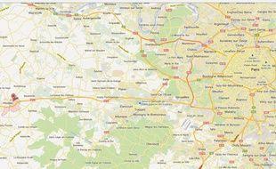 Google map de Maulette, dans les Yvelines.