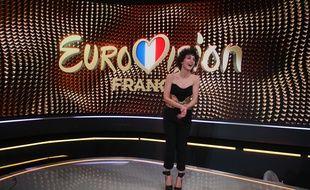 Barbara Pravi, le 31 janvier 2021 à l'issue de sa victoire à la sélection française pour l'Eurovision.