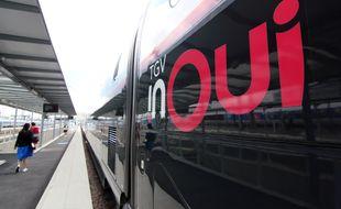 Une nouvelle rame Océane TGV de la SNCF, ici en gare de Rennes, le 5 juillet 2018.