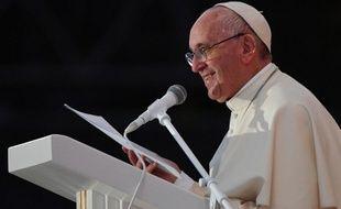 Le pape François prononce un discours sur le Campus Misericordiae le 30 juillet 2016, lors des Journées Mondiales de la Jeunesse.