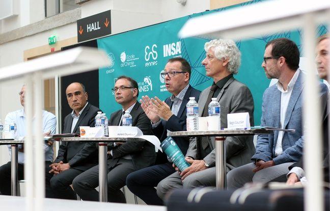 Les présidents des deux universités et cinq grandes écoles étaient réunis le 7 septembre 2018 pour présenter le projet de grande université de Rennes.