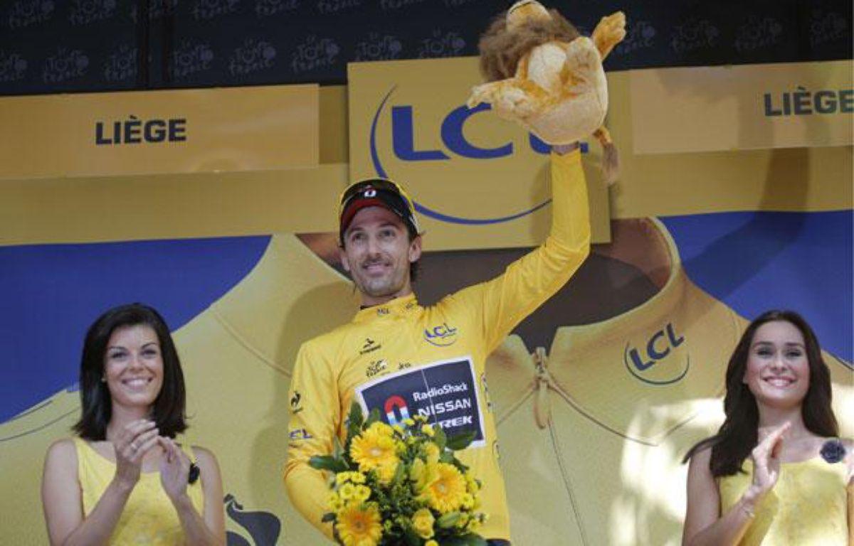 Fabian Cancellara a remporté le prologue du Tour de France pour la cinquième fois, le 30 juin 2012. – Christophe Ena/AP/SIPA