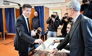 Nicolas Florian, le 15 mars 2020 lors du premier tour des municipales.
