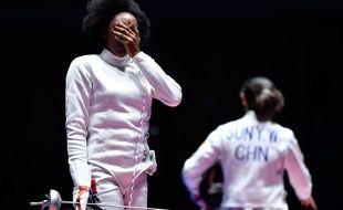 La Française Lauren Rembi en larmes après sa défaite en escrime le 6 août 2016.