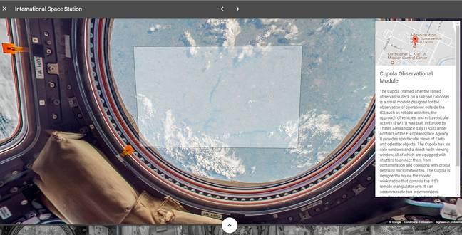 Capture d'écran de la promenade dans l'ISS.