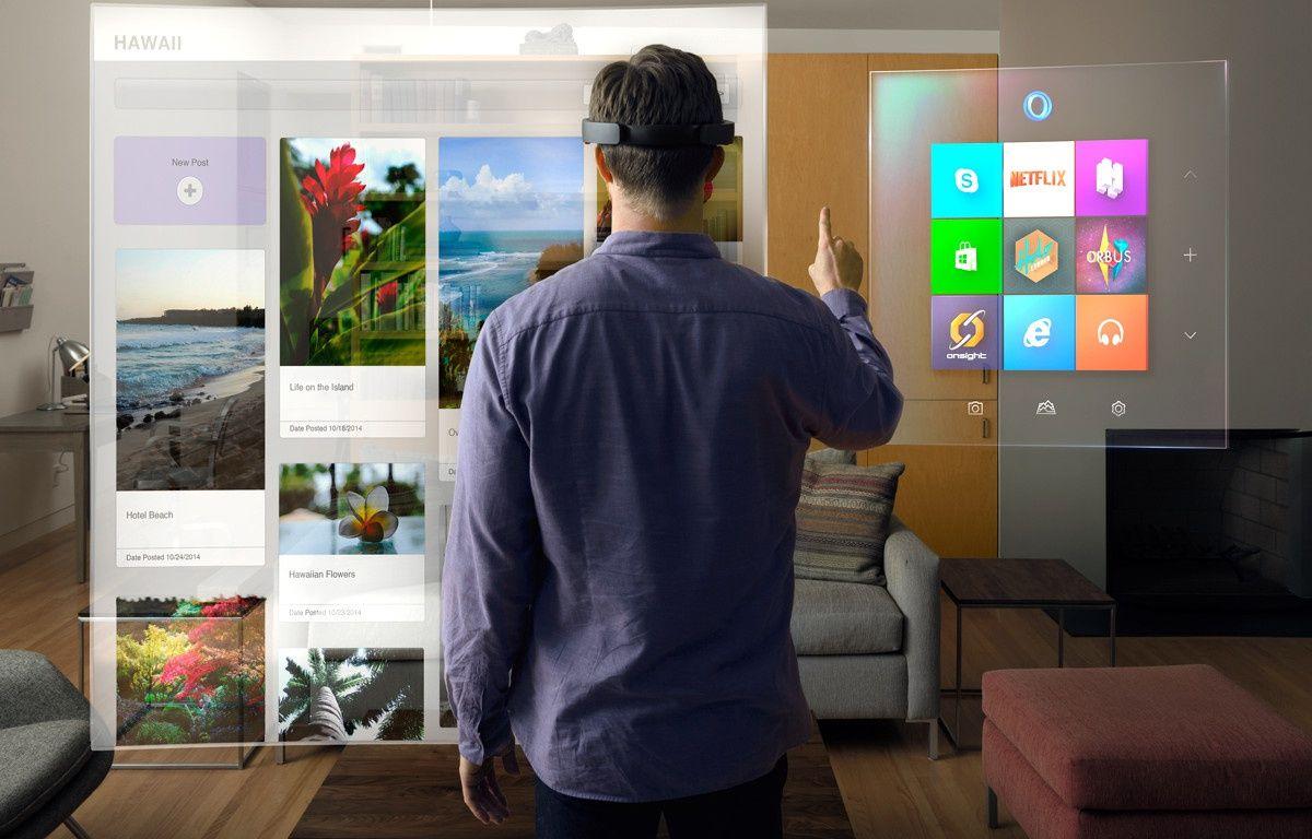 Le mode «holographique» de Windows permet d'interagir avec des menus 3D superposés au monde réel grâce aux lunettes HoloLens. – MICROSOFT