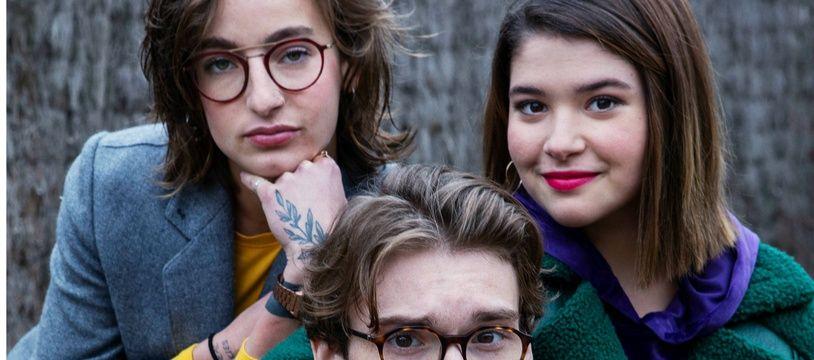 Robin Migné (Arthur), Winona Guyon (Noée) et Coline Preher (Alexia Martineau) dans la saison 5 de « Skam France».