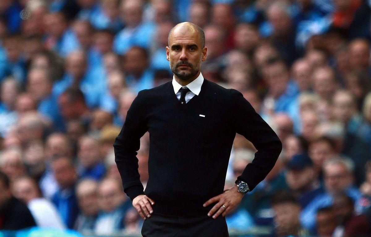 Pep Guardiola sur le banc de Manchester City, le 23 avril 2017.  – Paul Marriott/Shutterst/SIPA