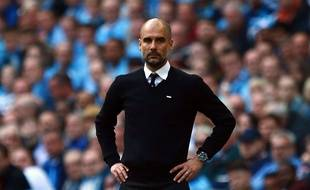 Pep Guardiola sur le banc de Manchester City, le 23 avril 2017.