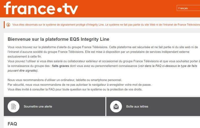 Capture écran de la plateforme alertefrancetelevisions.fr.