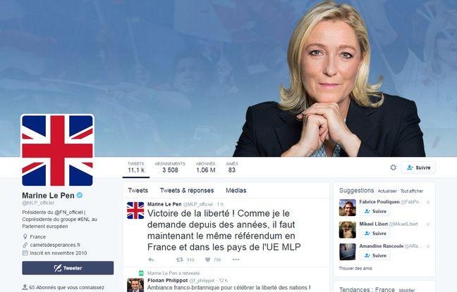 Marine Le Pen a changé sa photo de profil Twitter après la victoire du Brexit