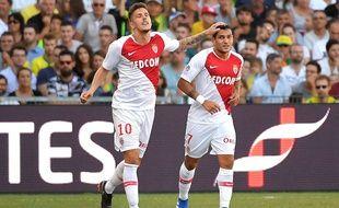Stevan Jovetic (à gauche) à inscrit le 2e but monégasque face à Nantes, samedi 11 août.