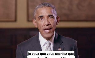 Capture d'écran de la vidéo où Barack Obama apporte son soutien à la candidature d'Emmanuel Macron à la présidentielle de 2017 en France, le 4 mai de la même année.