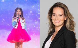 La chanteuse Valentina, gagnante de l'Eurovision Junior 2021 et Alexandra Redde-Amiel, cheffe de délégation.