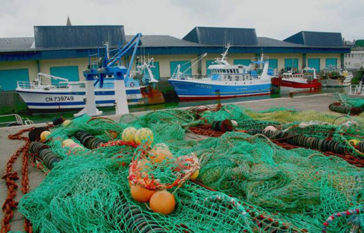 Chalutiers et filets dans le port de pêche de Port-en-Bessin, dans le Calvados.  – GILE MICHEL/SIPA