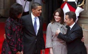 Les couples Sarkozy et Obama à Strasbourg le 3 avril 2009