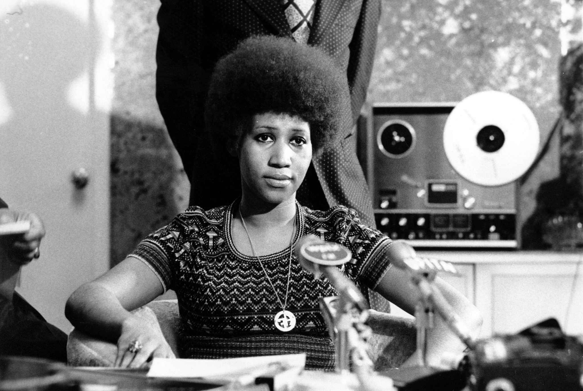 Soul singer Aretha Franklin is shown at a news conference on March 26, 1973. (AP Photo)/APHS157/AP_730326054/;R26532;/1508061613