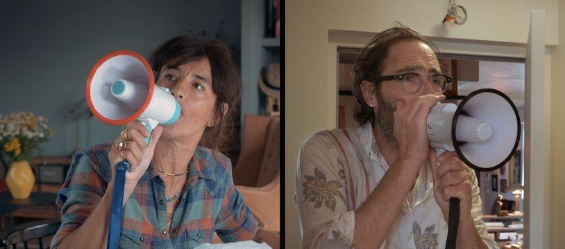 Romane Bohringer et Philippe Rebbot dans L'Amour flou qu'ils ont réalisé ensemble.