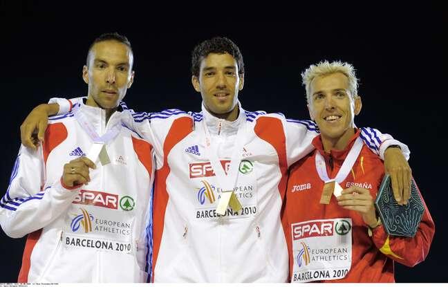 Bob Tahri (à gauche), médaillé de bronze aux championnats d'Europe 2000 sur 3000 m steeple. Il sera 15e de la liste portée par Jean Rottner, en Moselle.
