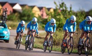 L'équipe Astana lors de l'épreuve de contre-la-montre par équipe des championnats du monde 2014, le 21 septembre 2014 à Ponferrada.