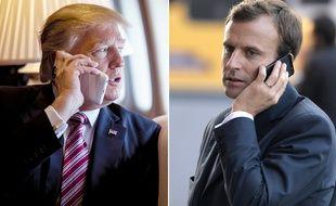 Donald Trump et Emmanuel Macron (photomontage).