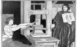 Deux hommes autour d'une presse typographique (1896).