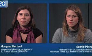 Capture d'écran d'une interview croisée pour/contre l'abolition de la prostitution.