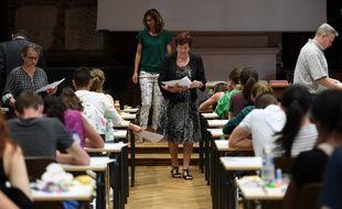 Lors d'une épreuve du bac le 15 juin 2017 au lycée Fustel de Coulanges à Strasbourg,