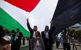 """Des palestiniens manifestent à Gaza pour commémorer le 67e anniversaire de la """"Nakba"""", """"catastrophe"""" en arabe, le 16 mai 2015"""