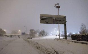 La RN118 sous la neige près de Vélizy-Villacoublay, le 7 février 2018.