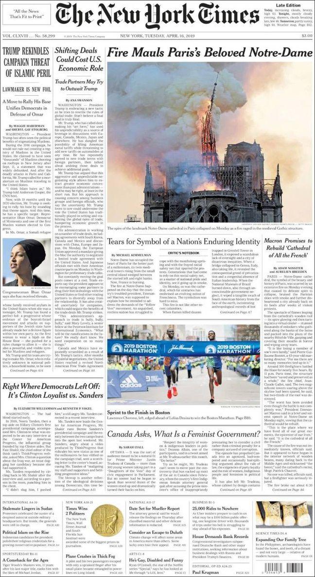 Une du New-York Times
