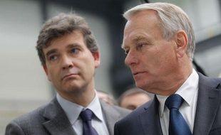 Jean Marc Ayrault, premier ministre et Arnaud Montebourg, ministre du redressement productifle 15 octobre 2012