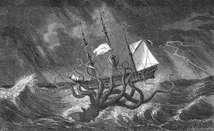 Dessin du XVIIIe siècle d'un kraken attaquant un bateau.