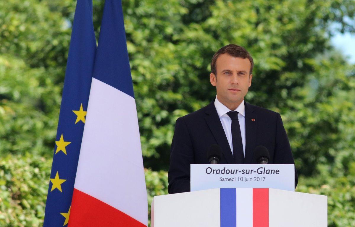 Emmanuel Macron le 10 juin 2017 à Oradour-sur-Glane. – PASCAL LACHENAUD / AFP
