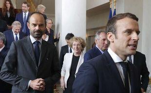 Emmanuel Macron et Edouard Philippe, à l'Elysée le 18 mai 2017. Philippe Wojazer, Pool via AP
