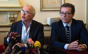 Frank McCourt et Jacques-Henri Eyraud (à droite) le 28 août à Marseille