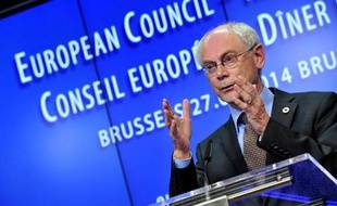 Le président du Conseil européen, Herman Van Rompuy, en conférence de presse le 27 mai 2014 à Bruxelles