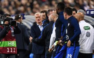Didier Deschamps lors de France-Biélorussie, le 10 octobre 2017 au Stade de France.