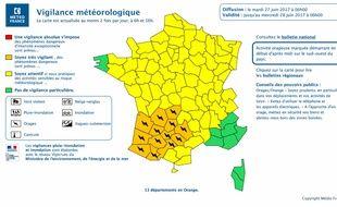 Bulletin d'alerte aux orages de Météo-France