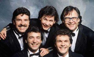 "Eric (Eric Bouad), Framboisier (Claude Chamboisier), Bernard Minet (Bernard Wantier), Remy (Remy Sarrazin) et Rene (Rene Morizur) du groupe ""Les Muscles"", en 1989"