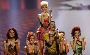 Le candidat moldave Pasha Parfeny, lors des semi-finales de l'Eurovision le 22 mai 2012.